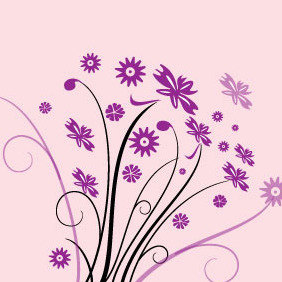 Floral Vector Pink Background - vector #206619 gratis