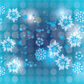 Blue Transparent Flowers In Blue Shining Background - Free vector #207659