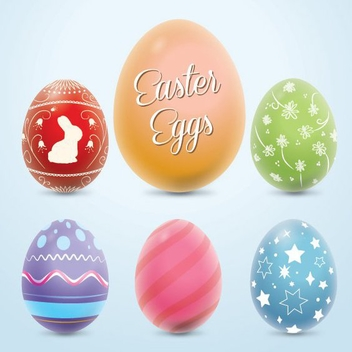 Colorful Easter Eggs - Free vector #207799