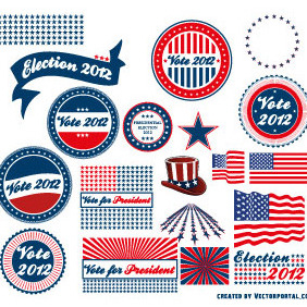 Presidential Election 2012 Vector Stickers - бесплатный vector #208239