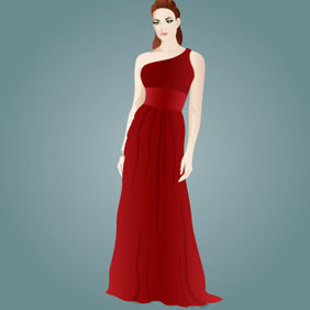 Girl In Evening Dress - vector gratuit #208779
