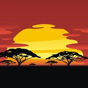 African Sunset - vector gratuit #209179