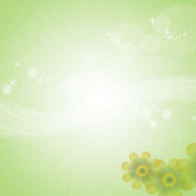 Yellow Flowers In Green Background Design - Free vector #209709