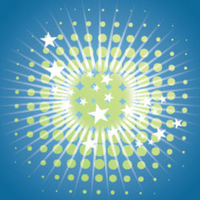 Green Stars In Blue Background Free Design - Kostenloses vector #209859