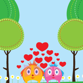 Characters In Love - vector gratuit #210529
