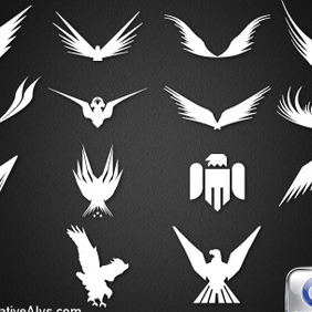 14 Abstract Eagle Silhouettes For Logo Design - vector gratuit #210659