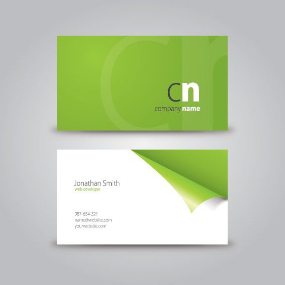 Curled Corner Business Card - Free vector #210949