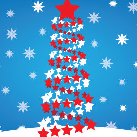 Christmas Tree Made Of Stars - Free vector #211019