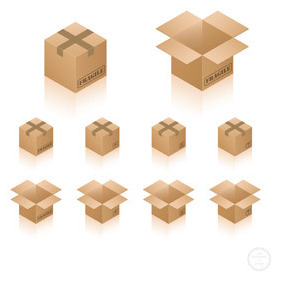 Isometric Cardboard Box Icons - Free vector #211339