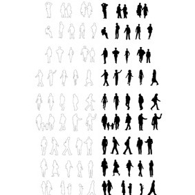 People Silhouettes Vector. Free Vector - бесплатный vector #211389