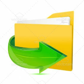 Folder Icon With Glossy Arrow - Kostenloses vector #211519