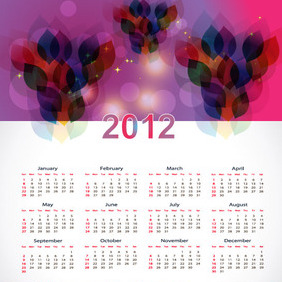 New Year 2012 Calendar Vector Graphic - Kostenloses vector #211719