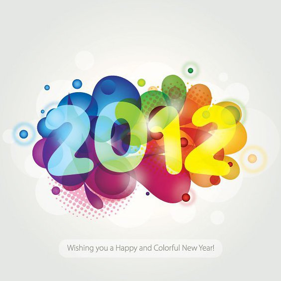 Colorful New Year 2012 - Free vector #211769