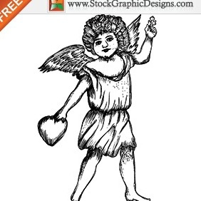 Cute Cupid Angel Free Vector Illustration - vector gratuit #212009