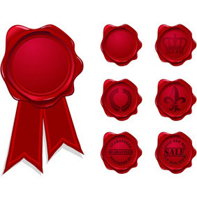 Red Vector Wax Seals - vector gratuit #212189