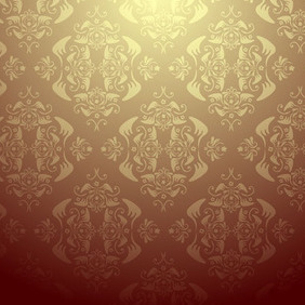 Seamless Damask Wallpaper - бесплатный vector #212599