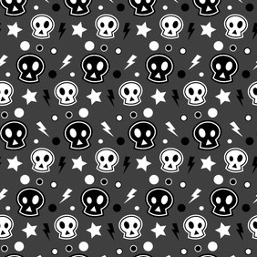 Funky Skull Halloween Seamless Illustrator Pattern - vector #212689 gratis
