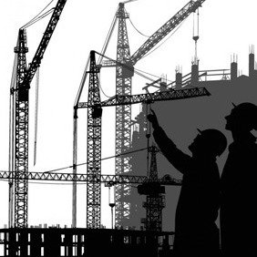Two Builders And Buildings - Free vector #212809