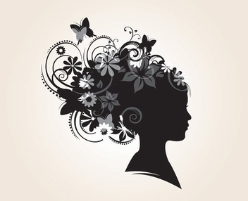 Floral Hairstyle Silhouette - vector #213159 gratis