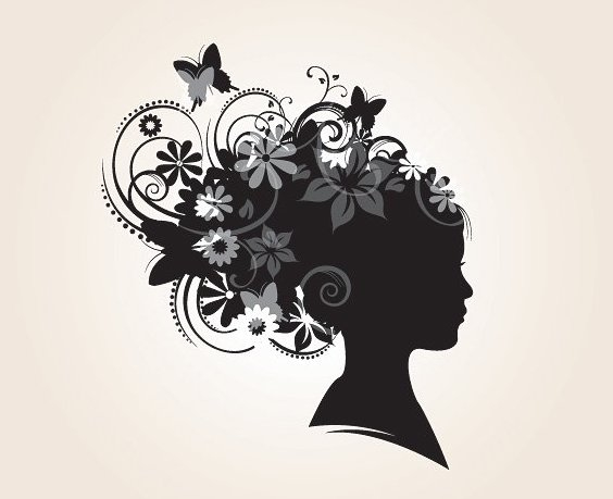 Floral Hairstyle Silhouette - Free vector #213159