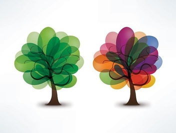 Blooming Trees - Free vector #213279