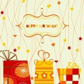 Autumnal Happy Birthday Card - vector #213409 gratis