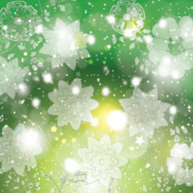 Ransprent Flowers In Green Shinning Background - Kostenloses vector #213479