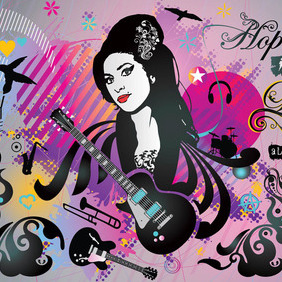 Amy Winehouse Art - vector #213609 gratis
