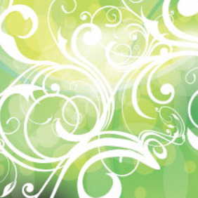 Swirly Abstract Green Background With Retro Circles - vector gratuit #213999