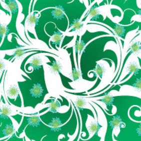 White Swirls And Green Flowers Freee Vector - Free vector #214059