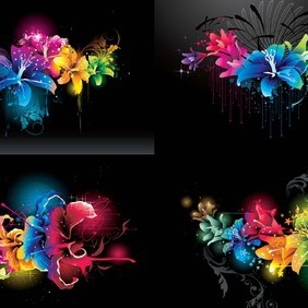 Color Abstract Flowers - Kostenloses vector #214119