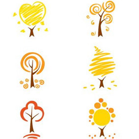 Simplistic Autumn Trees - vector gratuit #214219