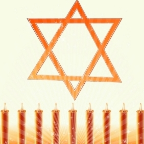 Hanukkah Card With Sparky Candles - vector gratuit #214549