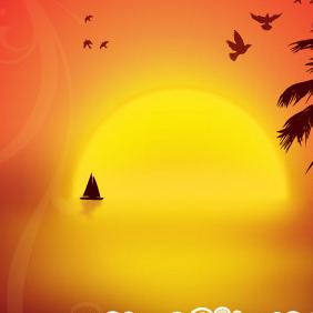 Nightfall On The Island - vector gratuit #214689