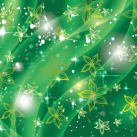Green Flower In Shinning Green Background - Free vector #214939