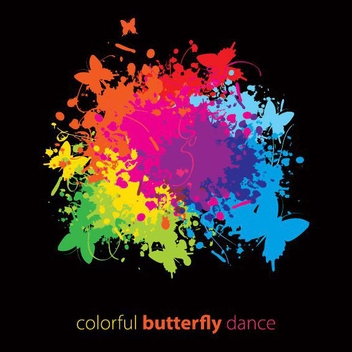 Colorful Butterfly Dance - vector gratuit #214989