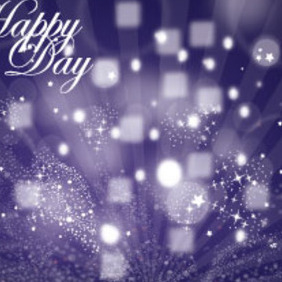 Purple Happy Day Card With Stars & Lines - Free vector #215449