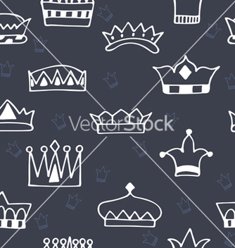 Free seamless pattern with hand drawn crowns on dark vector - Free vector #216099