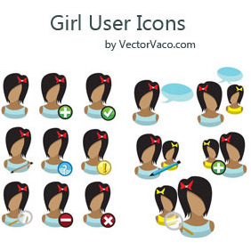 Girl User Icons - Kostenloses vector #216299