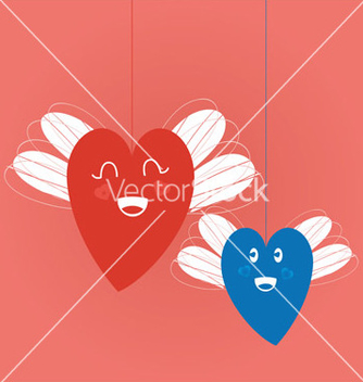 Free hearts with wings vector - vector gratuit #216419