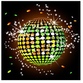 Colorful Disco Ball Vector - Free vector #216569