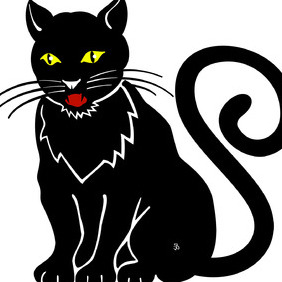 Black Cat Vector Illustration - Free vector #216689