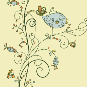 Leaf Vector Bird On Floral - Kostenloses vector #216759
