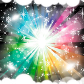 Rainbow Vector With Clouds - Free vector #217389