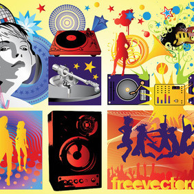 Free Music Party Vectors - Free vector #217519