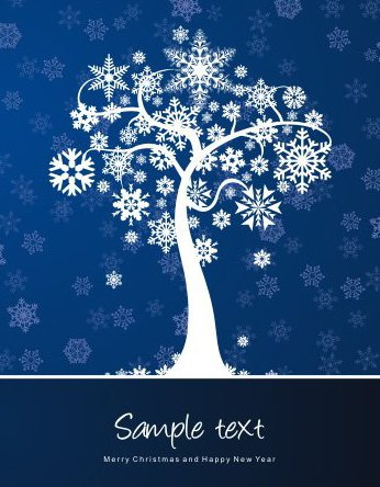 Winter Tree Card - Free vector #217879