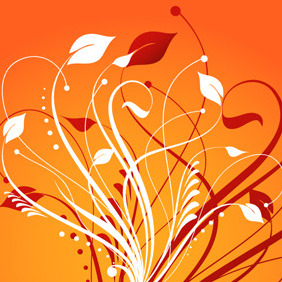 Floral Element On Orange Background - Kostenloses vector #217919