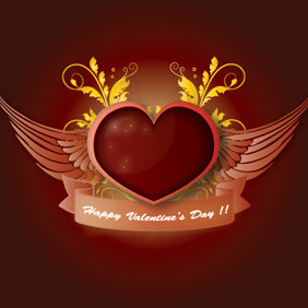 Free Valentine's Day Illustration With Heart And Wings - Free vector #217929