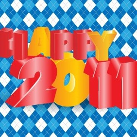 Happy 2011 3D Vector Typography Design - Free vector #218419