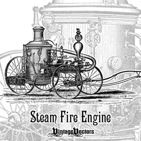 Steam Fire Engine Illustration - 1800s - Free vector #218429